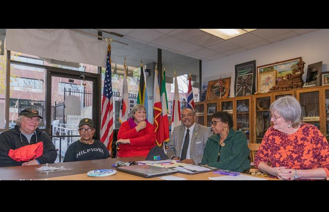 Leaders of Vallejo's sister city organizations (l to r) Kathy Brehm, Brenda J. Crawford, Carole Cullum, Pelton Stewart, Elissa Shanks Stewart, and Paula Bauer met recently with LGBT community members. Photo: Jane Philomen Cleland