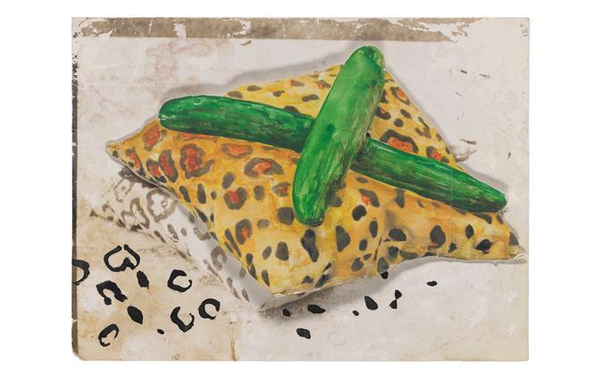 """Johannes Brus, """"Gurkenkissen (Cucumber Cross)"""" (1971). San Francisco Museum of Modern Art. Photo: Don Ross"""