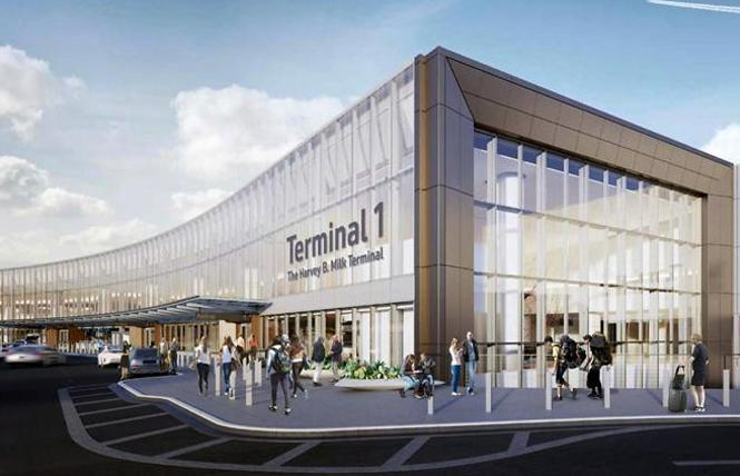 The proposed signage for Terminal 1: The Harvey B. Milk Terminal minimizes Milk's name. Photo: Courtesy SFO