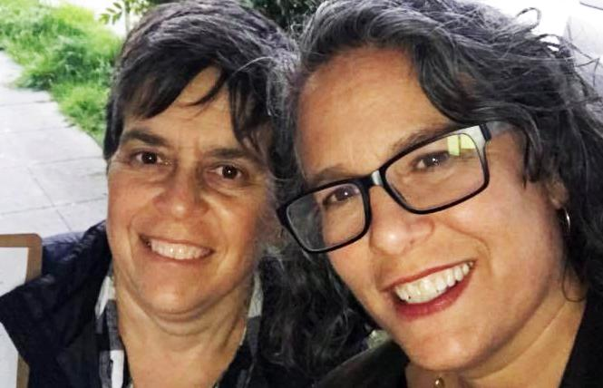 Alison Bernstein, left, and her wife, Judy Appel, were seriously injured when they were struck by a car early Saturday in Berkeley. Photo: Courtesy Facebook