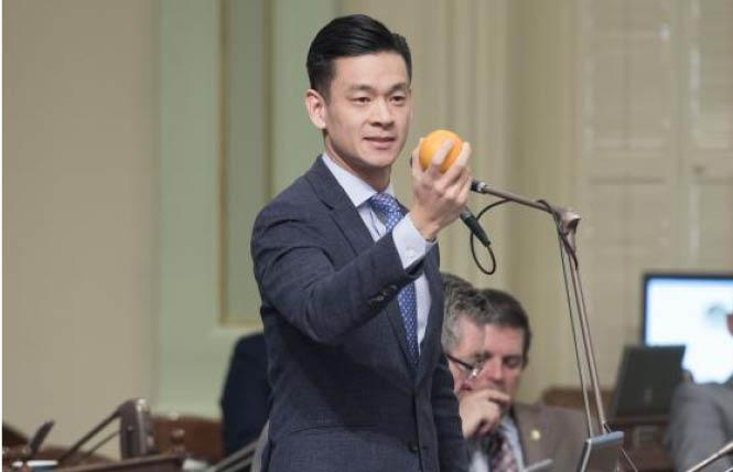 Assemblyman Evan Low spoke about the dangers of conversion therapy on the Assembly floor. Photo: Courtesy Evan Low