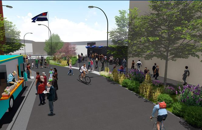 A rendering of Eagle Plaza shows a food truck and walkways. Photo: Courtesy Build Inc./Place Lab