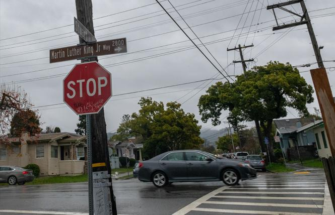 The intersection of Martin Luther King Jr. Way and Stuart Street was the site of a vehicle-pedestrian collision January 5 that left the Berkeley school board president and her wife critically injured. Photo: Jane Philomen Cleland