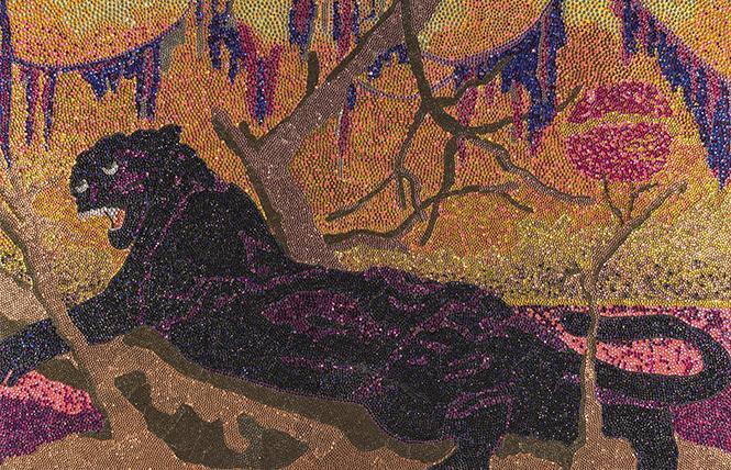 "Mickalene Thomas, ""Panthera"" (2002), rhinestones on acrylic on birch panel. The Studio Museum in Harlem. Photo: Zalika Azim, Mickalene Thomas/Artists Rights Society (ARS), New York"