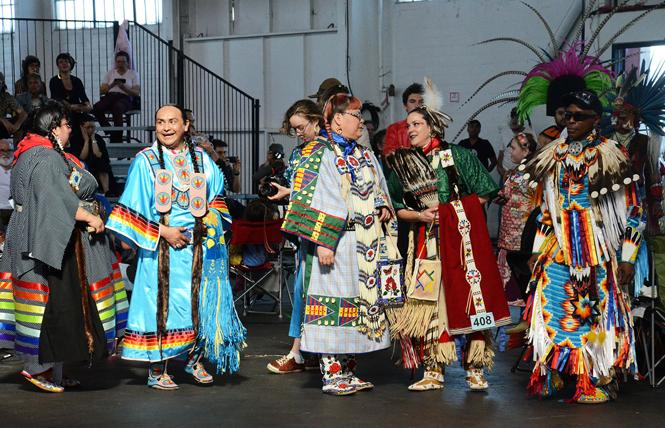 Dancers wait to enter the arena at last year's seventh annual Bay Area American Indian Two-Spirits powwow. Photo: Rick Gerharter