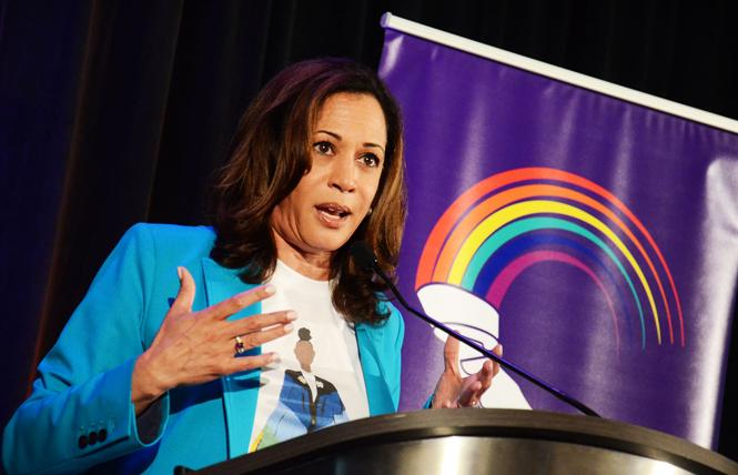 Senator Kamala Harris spoke at the Alice B. Toklas LGBT Democratic Club's Pride breakfast last June. Photo: Rick Gerharter