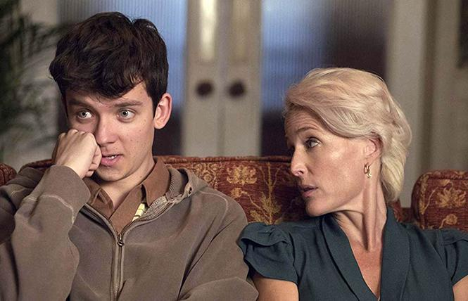 "Asa Butterfield and Gillian Anderson in ""Sex Education."" Photo: Netflix"