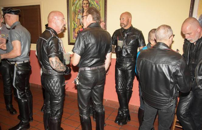 Sexy leather-clad men at a recent BLUF dinner.  photo: Rich Stadtmiller