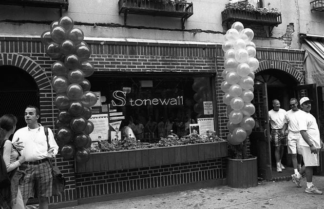 The Stonewall Inn in New York City's Greenwich Village was decorated for the Stonewall 25 celebrations in June 1994. Photo: Rick Gerharter