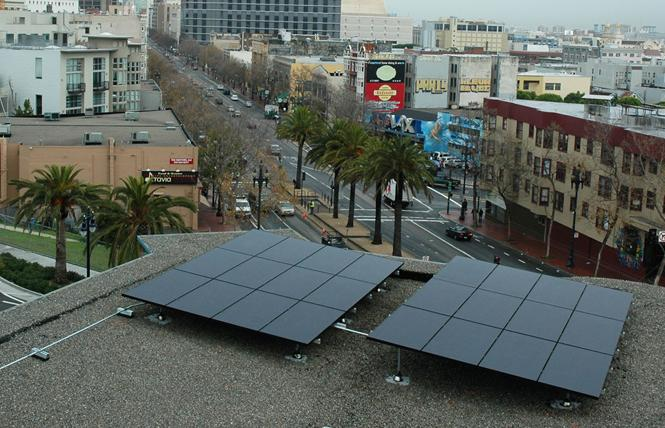 Pacific Gas & Electric Co. installed solar panels on the roof of the San Francisco LGBT Community Center in December 2006. Photo: Rick Gerharter