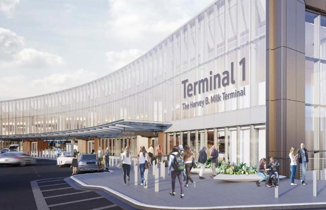 Supervisor Hillary Ronen has proposed an ordinance to flip the lettering size of the Harvey B. Milk Terminal. Photo: Courtesy SFO