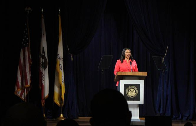 San Francisco Mayor London Breed delivered her first State of the City speech Wednesday at the National LGBTQ Center for the Arts. Photo: Tony Taylor