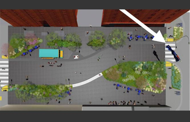 An artist rendering of Eagle Plaza shows an overhead view with an arrow pointing to the leather flag. Illustration: Courtesy Build Inc./Place Lab