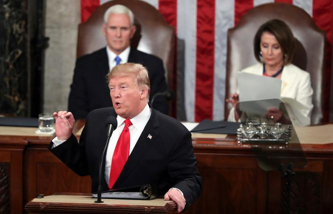 President Donald Trump delivers his second State of the Union address Tuesday in the Capitol, as Vice President Mike Pence and House Speaker Nancy Pelosi look on. Photo: Courtesy AP