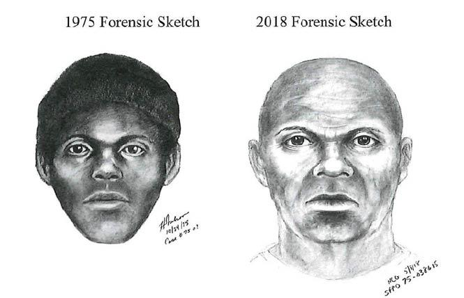 "The original sketch of the ""Doodler"" suspect, left, was updated last year using age progression to show what the man might look like today, right. Illustration: Courtesy SFPD"