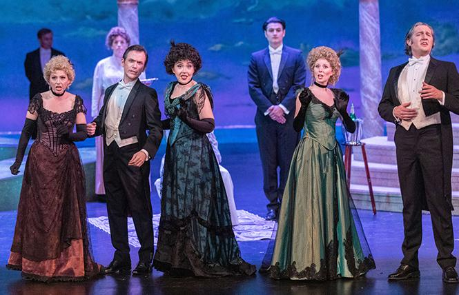 "Amy Bouchard, Jonathan Smucker, Elana Cowen, Amy Foote, and Chris Uzelac in Lamplighters Music Theatre's ""A Little Night Music."" Photo: Joe Giammarco"
