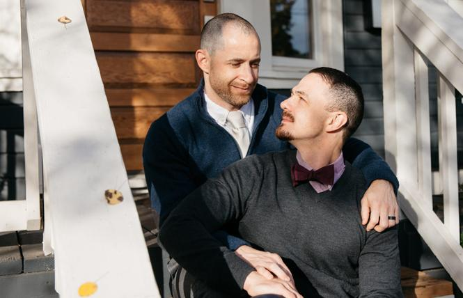 "David Khalaf, left, and his husband, Constantino, are the authors of ""Modern Kinship: A Queer Guide to Christian Marriage."" Photo: Lehua Noelle Faulkner"