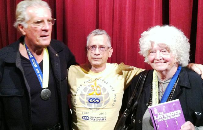 Patricia Nell Warren, right, celebrated the 30th anniversary of the Gay Games in 2012 in West Hollywood with David Kopay, left, and Bay Area Reporter columnist Roger Brigham. Photo: Courtesy Federation of Gay Games