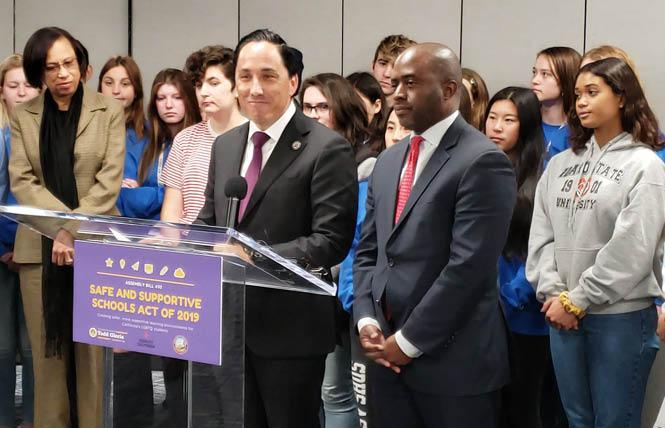 Assemblyman Todd Gloria, speaking, was joined by state Superintendent of Public Instruction Tony Thurmond, second from right, Wednesday afternoon in San Diego to announce the revival of a bill requiring LGBT cultural competency training for state educators. Photo: Courtesy San Diego Unified School District