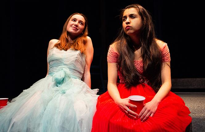 """Blaze (Isabel Langen) and Rowena (Neiry Rojo) share a moment at their high school prom in Chelsea Marcantel's """"A White Girl's Guide to International Terrorism."""" Photo: Jessica Palopol"""