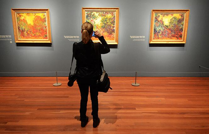 """Three different views of Claude Monet's """"The Artist's House Seen from the Rose Garden,"""" now on exhibit at the de Young Museum. Photo: Rick Gerharter"""