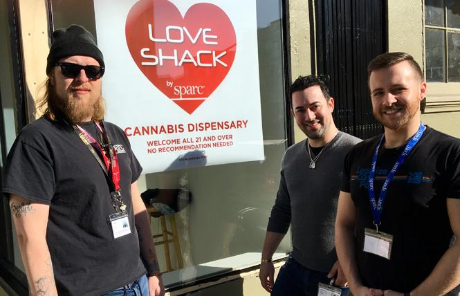 Serge Kay, left, stands outside Love Shack by SPARC with Robbie Rainin and Philip Morelli. Photo: Sari Staver