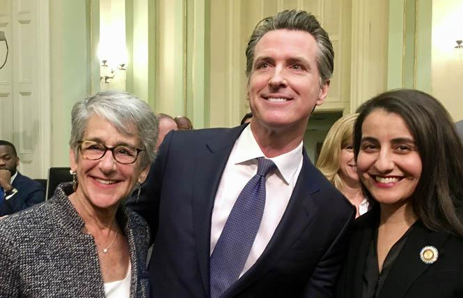 State Senator Hannah-Beth Jackson (D-Santa Barbara), left, joined Governor Gavin Newsom and Assemblywoman Monique Limón (D-Santa Barbara) at the governor's first State of the State address February 12. Photo: Courtesy Twitter