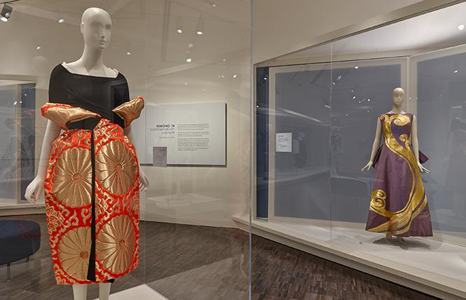 Dress (Spring/Summer 1995) by Yohji Yamamoto (left), silk/rayon-blend jersey and polyester/rayon/nylon-blend brocade. Dress (1956) by Toshiko Yamawaki (right), silk taffeta with Japanese gold-thread embroidery. Both: Collection of The Kyoto Costume Institute. Photo: Takashi Hatakeyama, courtesy Asian Art Museum
