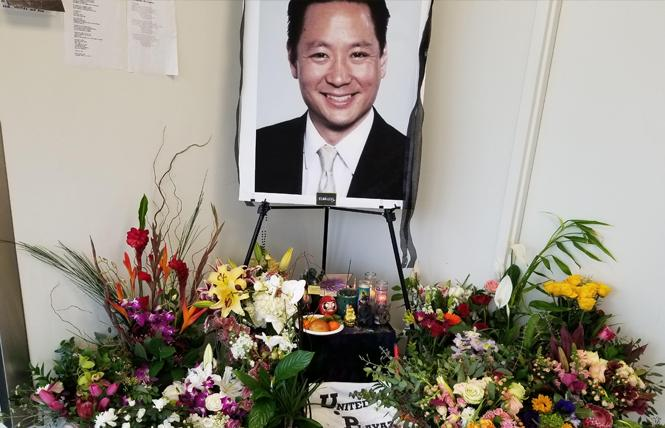 An altar at the San Francisco Public Defender's office pays tribute to Jeff Adachi. Photo: Courtesy SF Public Defender's office