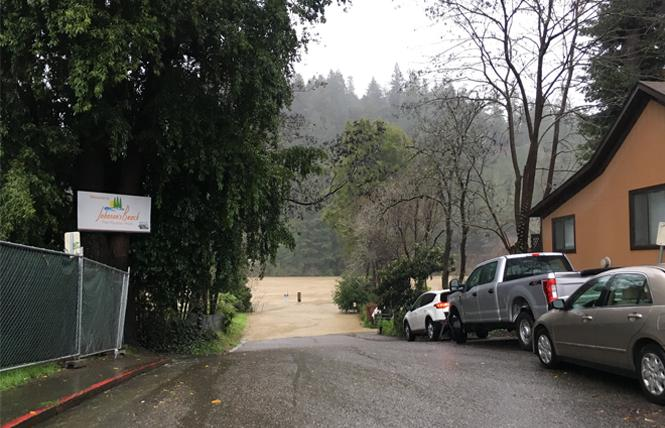 Johnson Road in Guerneville was under water Tuesday. Photo: Courtesy KCBS Radio via Twitter