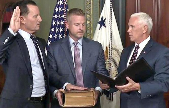 Vice President Mike Pence, right, swore in gay U.S. Ambassador to Germany Richard Grenell last May. Photo: Courtesy Joe.My.God