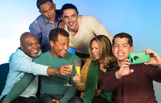 (L to R:) Brian (ShawnJ West), Stephen (Joey Alvarado), Matt (Daniel Redmond), Esteban (Vaho), Carrie (Clove Galilee), and Steve (Greg Ayers) enjoy brunch together. Photo: Lois Tema
