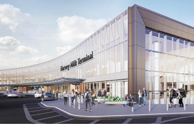 """Revised drawings for the """"Harvey Milk Terminal"""" exterior signage at San Francisco International Airport renewed community complaints for showing the gay icon's name would not be used at all of the facility's entrances. Photos: Courtesy SFO"""