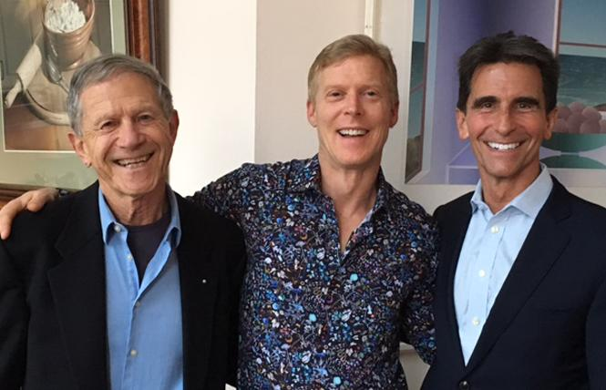 Angus J. Whyte, left, with his husband, Thom Grexa Phillips, and former state lawmaker Mark Leno. Photo: Courtesy Mark Leno