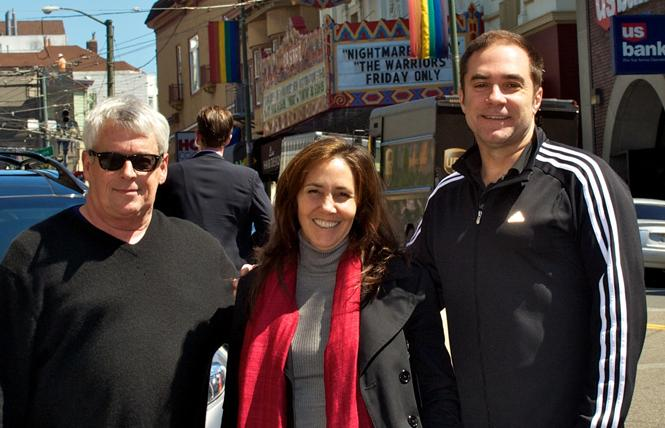 Cleve Jones, left, joined Mariela Castro and Rainbow World Fund's Jeff Cotter in front of the San Francisco's Castro Theatre in 2012. Photo: Courtesy RWF