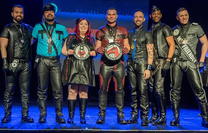 SF Bootblack and Mr. SF Leather 2019 contestants (left to right): Manny Ojeda, Mr. SF Eagle 2019; Timothy Valdivia, Mr. Sober Leather 2019; Allison Boots (Winner, SF Bootblack 2019); Jawn Marques, Mr. Daddy's Barbershop 2019 (Winner, Mr. SF Leather 2019); Gunner Friesen, Independent (Second Runner Up Mr. SF Leather 2019); AJ Huff, Mr. Powerhouse 2019; and Amp Somers, Mr. Friendly 2019 (First Runner Up Mr. SF Leather 2019). photo: Rich Stadtmiller