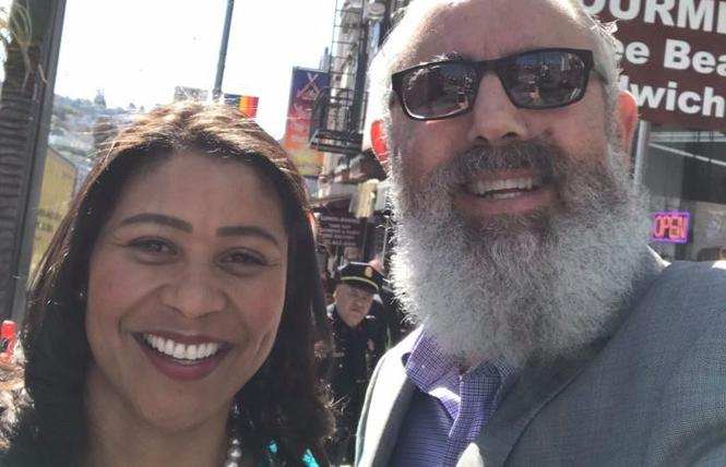 Mayor London Breed, left, joined outgoing Castro Merchants President Daniel Bergerac in the gay neighborhood Tuesday to kick off the Open to All campaign for LGBT-friendly businesses. Photo: Courtesy Facebook