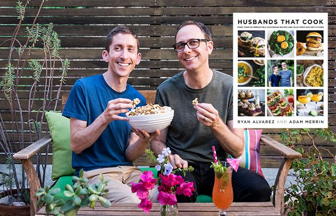 Husbands That Cook author/chefs Ryan Alvarez and Adam Merrin.  Insert: Husbands That Cook book