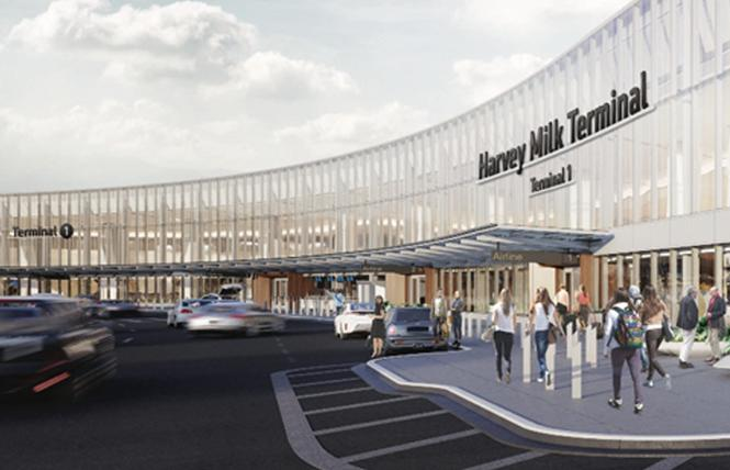 "Revised drawings for the ""Harvey Milk Terminal"" exterior signage at San Francisco International Airport renewed community complaints for showing the gay icon's name would not be used at all of the facility's entrances. Photo: Courtesy SFO"