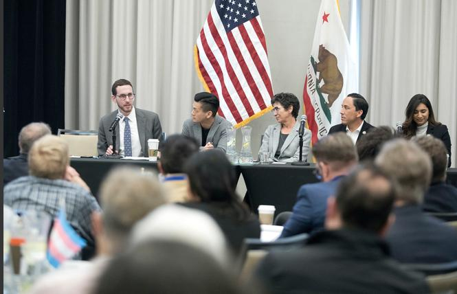 Legislative LGBT Caucus members state Senator Scott Wiener, left, Assemblyman Evan Low, Assemblywoman Susan Talamantes Eggman, Assemblyman Todd Gloria, and Assemblywoman Sabrina Cervantes spoke on a panel at the March 15 statewide summit for LGBT elected officials. Photo: Tia Gemmell