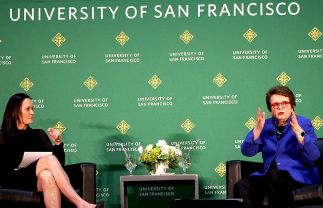 Retired tennis champion Billie Jean King, right, spoke at the University of San Francisco March 19 with Jennifer Azzi, the school's former women's basketball coach. Photo: Heather Cassell