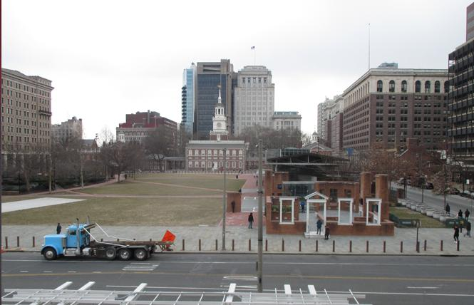 History sites in Philadelphia include the footprint of George Washington's house, right, and Independence Hall in the background. Photo: Ed Walsh