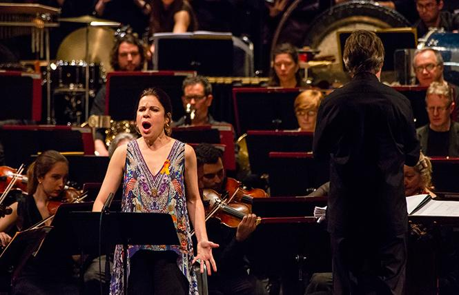"Soprano Ana MarÍa MartÍnez performs the world premiere of Jimmy López's ""Dreamers"" with Esa-Pekka Salonen and the Philharmonia Orchestra, London, Volti San Francisco and the UC Berkeley Chamber Choir at Cal Performances, UC Berkeley. Photo: Brittany Hosea-Small"