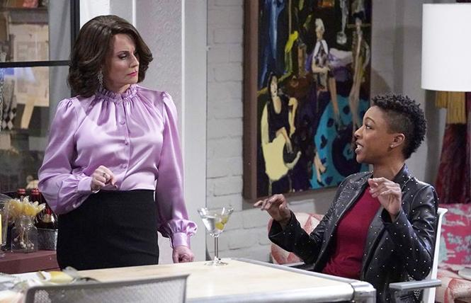 "Samira Wiley (above right, with Megan Mullally) debuts as Nikki, Karen's upstairs neighbor and possible lesbian love interest, on ""Will & Grace."" Photo: NBC-TV"