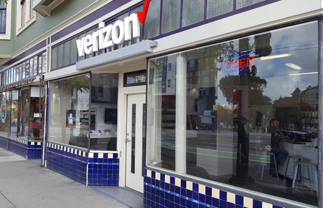 A Verizon store in the Castro had to replace two windows after someone broke them recently. Photo: Cynthia Laird