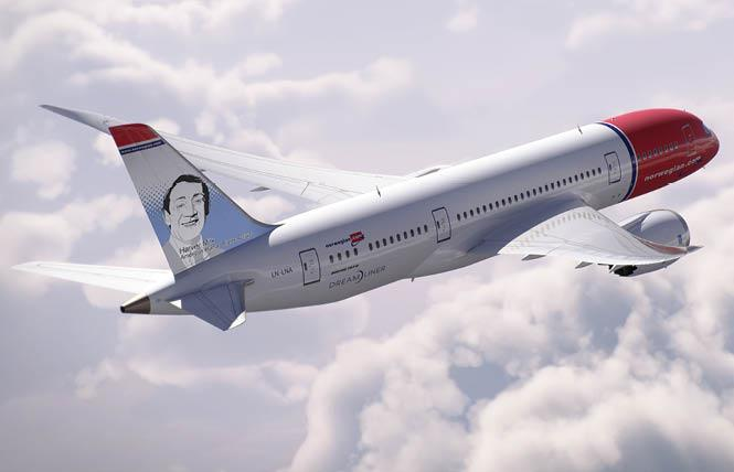 A rendering of the tail fin that honors Harvey Milk will be on one of Norwegian Airlines' Dreamliner planes. Photo: Courtesy Norwegian Airlines