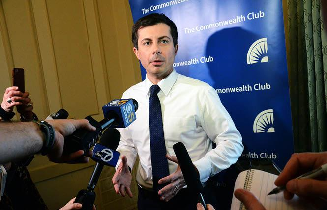 Pete Buttigieg, the mayor of South Bend, Indiana who is exploring a 2020 presidential run, took questions from reporters prior to his Commonwealth Club appearance Thursday, March 28, in San Francisco. Photo: Rick Gerharter