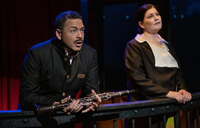 "Mezzo-soprano Blythe Gaissert as Georgia O'Keeffe (right) and tenor Nathan Granner as Aubrey in the world premiere of Opera Parallele's ""Today It Rains"" at Z Space. Photo: Steve DiBartolomeo"