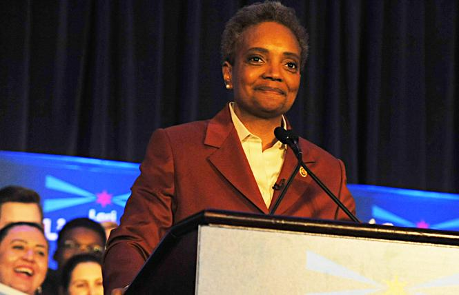 Chicago Mayor-elect Lori Lightfoot speaks to supporters Tuesday. Photo: Vern Hester/Windy City Times