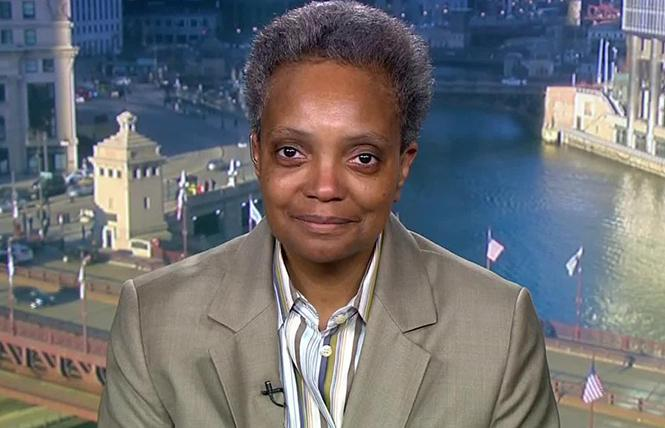 Lori Lightfoot, Chicago's first black woman and first out LGBTQ mayor, on CNN. Photo: Courtesy CNN